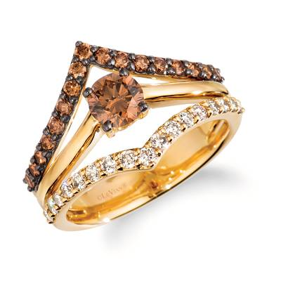 14K Honey Gold™ Ring with Chocolate Diamonds® 7/8 cts., Nude Diamonds™ 1/3 cts. | WJKQ 49