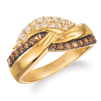 14K Honey Gold™ Ring with Nude Diamonds 1/3 cts., Chocolate Diamonds® 1/3 cts. | WJKQ 57
