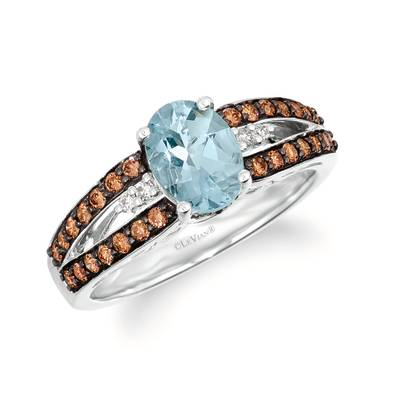 14K Vanilla Gold® Sea Blue Aquamarine® 3/4 cts. Ring with Chocolate Diamonds® 3/8 cts., Nude Diamonds™ 1/20 cts. | WJKQ 58