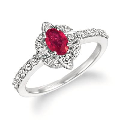 14K Vanilla Gold® Passion Ruby™ 1/2 cts. Ring with Nude Diamonds™ 3/8 cts. | WJKQ 61
