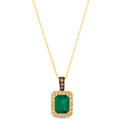 14K Honey Gold™ New Emerald 1  1/5 cts. Pendant with Chocolate Diamonds® 1/20 cts., Nude Diamonds™ 1/5 cts. | WJKQ 69