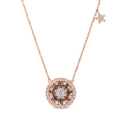 14K Strawberry Gold® Necklace with Vanilla Diamonds® 1/2 cts., Chocolate Diamonds® 1/4 cts. | WJKS 1