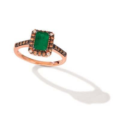 14K Strawberry Gold® New Emerald 3/4 cts. Ring with Chocolate Diamonds® 1/5 cts., Vanilla Diamonds®  cts. | WJKS 15
