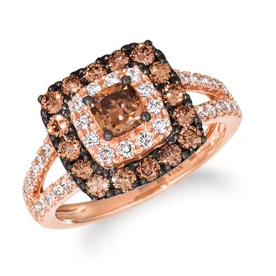 14K Strawberry Gold® Ring with Chocolate Diamonds® 1 cts., Vanilla Diamonds® 1/2 cts. | WJLA 1