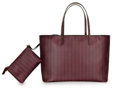 Repeating Logo Burgundy Tote - Large | XBGAM1027BOR