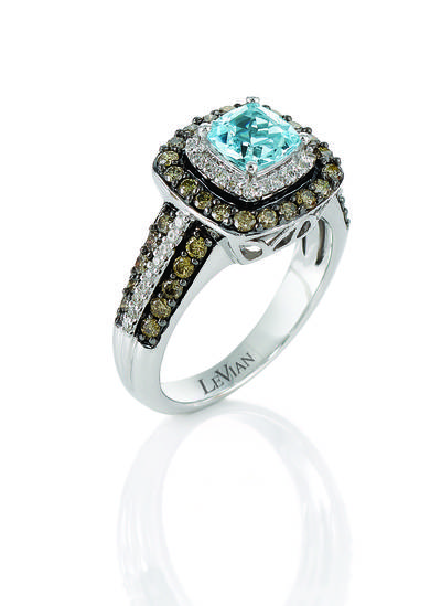 14K Vanilla Gold® Sea Blue Aquamarine® 3/4 cts. Ring | YOJZ 169