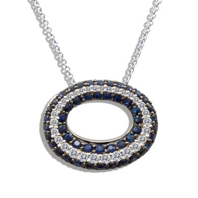 14K Vanilla Gold® Blueberry Sapphire™ 1  1/8 cts. Pendant with Vanilla Diamonds® 1/3 cts. | YOKW 6