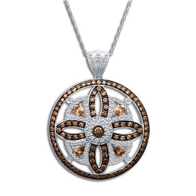 14K Vanilla Gold® Pendant with Chocolate Diamonds® 2  3/8 cts., Vanilla Diamonds® 1 cts. | YOLI 1