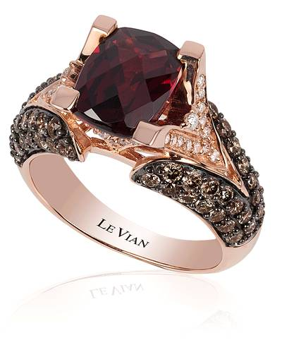 14K Strawberry Gold® Raspberry Rhodolite® 3  1/6 cts. Ring with Chocolate Diamonds® 1 cts., Vanilla Diamonds® 1/5 cts. | YOLP 5