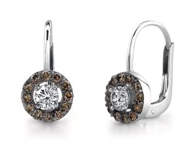 14K Vanilla Gold® Earrings with Vanilla Diamonds® 1/2 cts., Chocolate Diamonds® 3/8 cts. | YOLQ 8