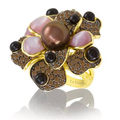 14K Honey Gold™ Mother Of Pearl  cts., Onyx  cts., Chocolate Pearls®  cts. Ring with Chocolate Diamonds® 2  3/8 cts. | YOOD 11
