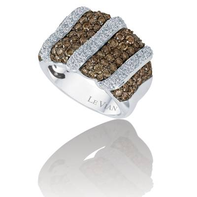 14K Vanilla Gold® Ring with Chocolate Diamonds® 2 cts., Vanilla Diamonds® 1/3 cts. | YOOE 6
