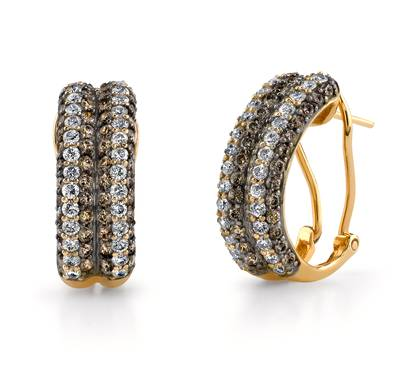14K Honey Gold™ Earrings with Vanilla Diamonds® 1  1/5 cts., Chocolate Diamonds® 1  3/4 cts. | YOOH 22