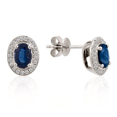 14K Vanilla Gold® Blueberry Sapphire™ 1 cts. Earrings with Vanilla Diamonds® 1/5 cts. | YOON 18