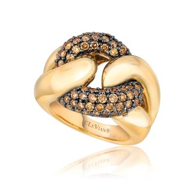 14K Honey Gold™ Ring with Chocolate Diamonds® 1  1/4 cts. | YOOO 1