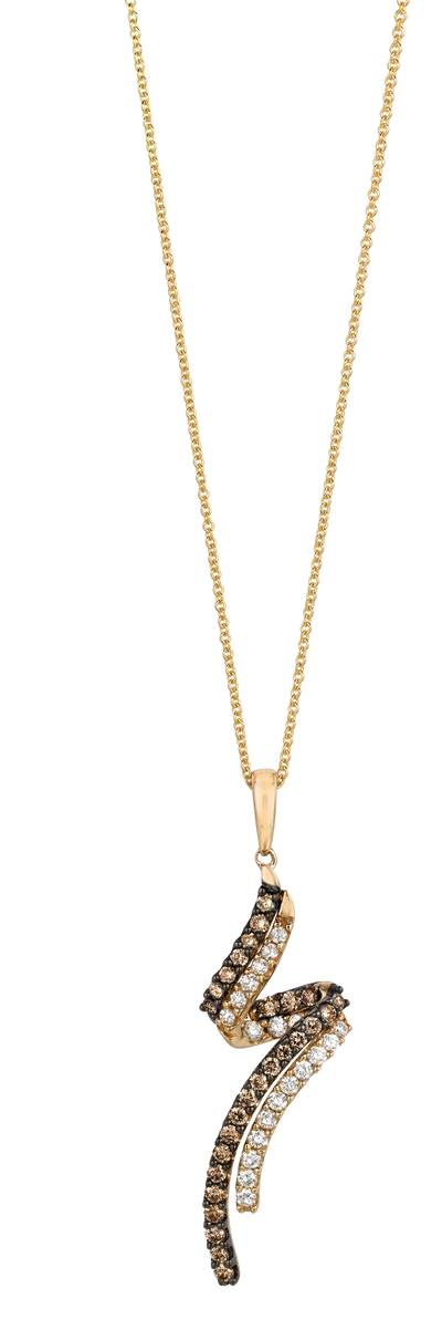 14K Honey Gold™ Pendant with Vanilla Diamonds® 3/8 cts., Chocolate Diamonds® 1/2 cts. | YOOQ 1