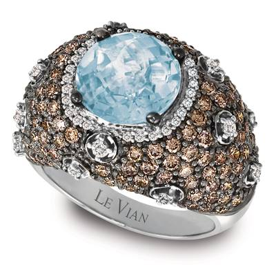 14K Vanilla Gold® Sea Blue Aquamarine® 3 cts. Ring with Chocolate Diamonds® 2  3/8 cts., Vanilla Diamonds® 3/8 cts. | YOOQ 291