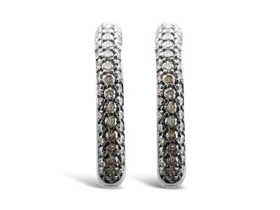 14K Vanilla Gold® Earrings with Chocolate Diamonds® 1  3/4 cts., Vanilla Diamonds® 7/8 cts. | YOOV 1
