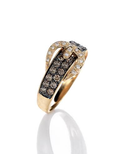 14K Honey Gold™ Ring with Chocolate Diamonds® 5/8 cts., Vanilla Diamonds® 1/15 cts. | YOQS 1