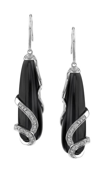 14K Vanilla Gold® Onyx 10 cts. Earrings with Vanilla Diamonds® 1/3 cts. | YORE 2