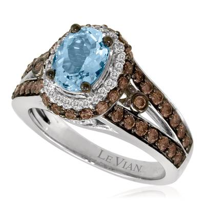 14K Vanilla Gold® Sea Blue Aquamarine® 1 cts. Ring with Chocolate Diamonds® 7/8 cts., Vanilla Diamonds® 1/10 cts. | YORJ 9