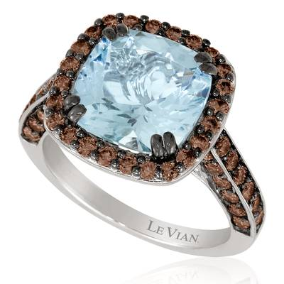 14K Vanilla Gold® Sea Blue Aquamarine® 3  1/5 cts. Ring with Chocolate Diamonds® 1  1/4 cts. | YORK 11