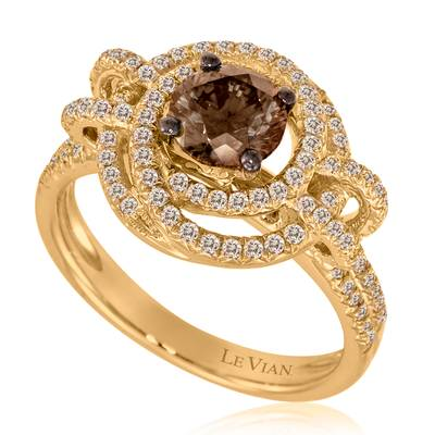 18K Honey Gold™ Ring with Chocolate Diamonds® 1 cts., Vanilla Diamonds® 1/2 cts. | YORM 18