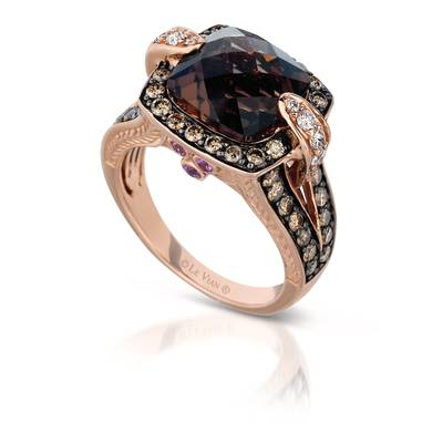 14K Strawberry Gold® Chocolate Quartz® 3  7/8 cts., Bubble Gum Pink Sapphire™ 1/8 cts. Ring with Chocolate Diamonds® 1 cts., Vanilla Diamonds® 1/5 cts. | YORP 22