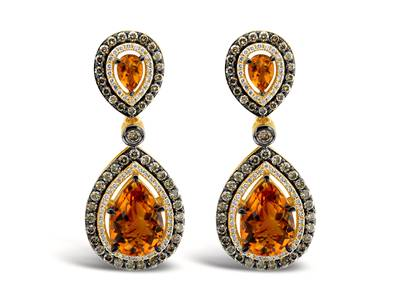 14K Honey Gold™ Cinnamon Citrine® 8  3/8 cts. Earrings with Chocolate Diamonds® 2  1/5 cts., Vanilla Diamonds® 1/2 cts. | YORP 5