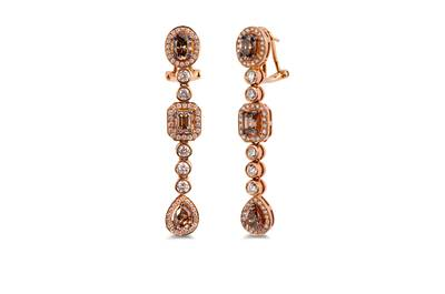 18K Strawberry Gold® Earrings with Chocolate Diamonds® 3  1/8 cts., Vanilla Diamonds® 1  3/8 cts. | YORX 21