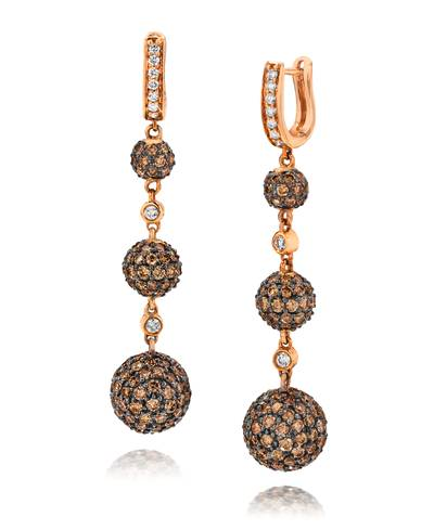 18K Strawberry Gold® Earrings with Vanilla Diamonds® 1/4 cts., Chocolate Diamonds® 5  3/4 cts. | YOSU 1