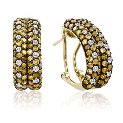 14K Honey Gold™ Earrings with Yellow Diamonds 2  5/8 cts., Vanilla Diamonds® 3/8 cts. | YOSZ 12