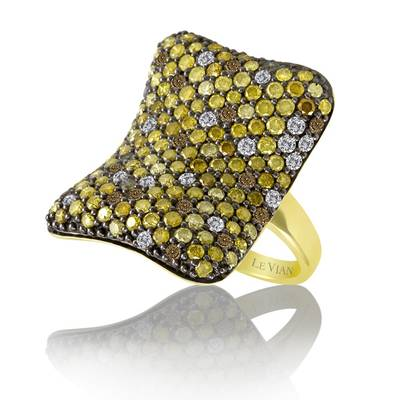 14K Honey Gold™ Ring with Chocolate Diamonds® 1/3 cts., Goldenberry Diamonds™ 3 cts., Vanilla Diamonds® 1/3 cts. | YOSZ 3