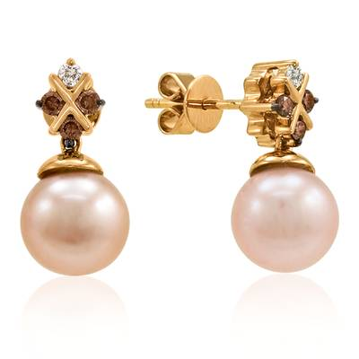 14K Strawberry Gold® Strawberry Pearls®  cts. Earrings with Chocolate Diamonds® 1/6 cts., Vanilla Diamonds® 1/20 cts. | YOUF 4