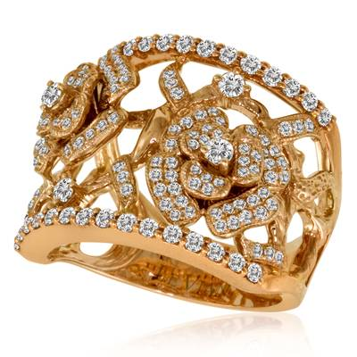 14K Strawberry Gold® Ring with Vanilla Diamonds® 1  1/4 cts. | YOWH 1
