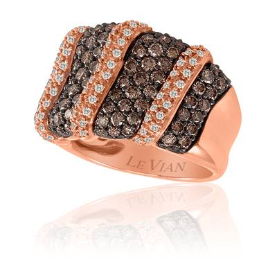14K Strawberry Gold® Ring with Chocolate Diamonds® 1  3/8 cts., Vanilla Diamonds® 1/4 cts. | YOZH 4