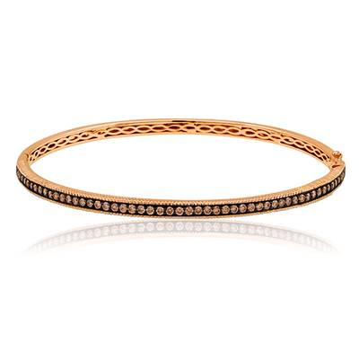 14K Strawberry Gold® Bangle with Chocolate Diamonds® 1 cts. | YOZS 9
