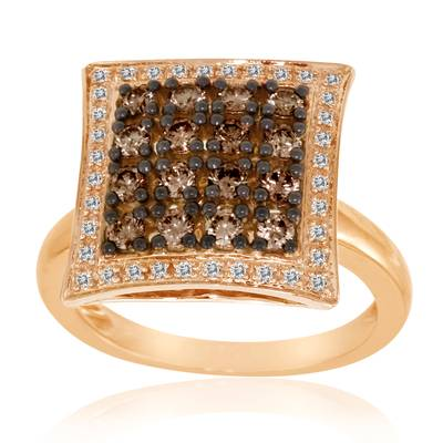 14K Strawberry Gold® Ring with Chocolate Diamonds® 5/8 cts., Vanilla Diamonds® 1/8 cts. | YPBR 17