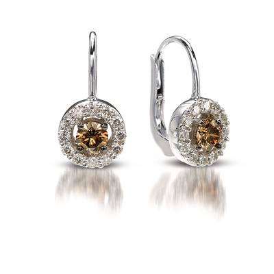 14K Vanilla Gold® Earrings with Chocolate Diamonds® 1/2 cts., Vanilla Diamonds® 3/8 cts. | YPBY 10