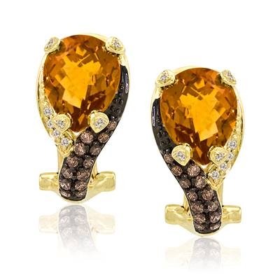 14K Honey Gold™ Cinnamon Citrine® 4  3/8 cts. Earrings with Chocolate Diamonds® 1/3 cts., Vanilla Diamonds® 1/15 cts. | YPCE 2