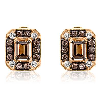 14K Strawberry Gold® Earrings with Chocolate Diamonds® 1 cts., Vanilla Diamonds® 1/6 cts. | YPDI 4