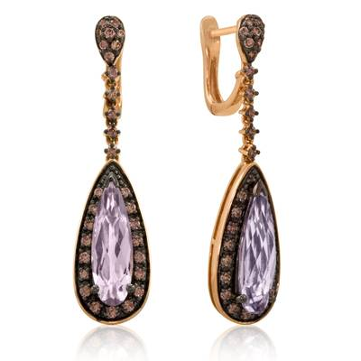 14K Strawberry Gold® Cotton Candy Amethyst® 3  3/4 cts. Earrings with Chocolate Diamonds® 3/4 cts. | YPEJ 8