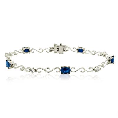 14K Vanilla Gold® Blueberry Sapphire™ 2 cts. Bracelet with Vanilla Diamonds® 1/4 cts. | YPFF 4
