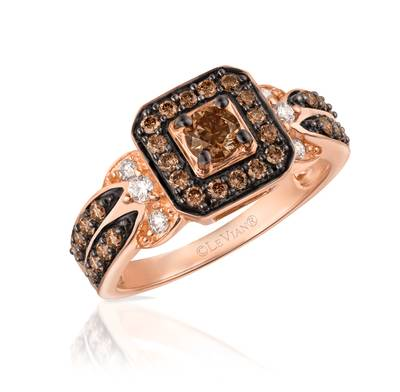 14K Strawberry Gold® Ring with Chocolate Diamonds® 5/8 cts., Vanilla Diamonds® 1/8 cts. | YPFX 1