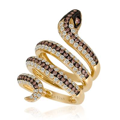 14K Honey Gold™ Ring with Chocolate Diamonds® 7/8 cts., Vanilla Diamonds® 1  1/2 cts. | YPHF 1
