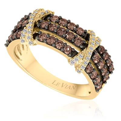 14K Honey Gold™ Ring with Chocolate Diamonds® 3/4 cts., Vanilla Diamonds® 1/8 cts. | YPHV 19