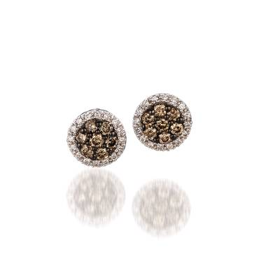14K Vanilla Gold® Earrings with Chocolate Diamonds® 1/2 cts., Vanilla Diamonds® 1/6 cts. | YPIN 7