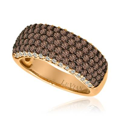 14K Strawberry Gold® Ring with Chocolate Diamonds® 1  3/8 cts., Vanilla Diamonds® 1/3 cts. | YPIR 63