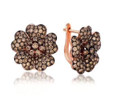 14K Strawberry Gold® Earrings with Chocolate Diamonds® 2  7/8 cts. | YPIR 79