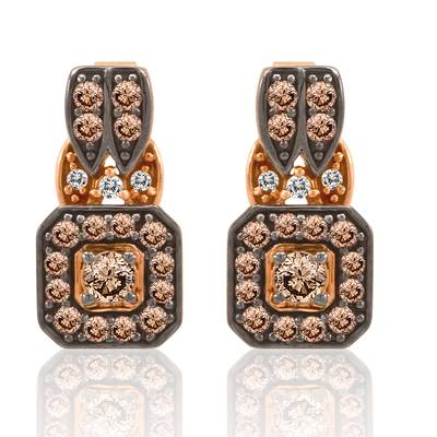 14K Strawberry Gold® Earrings with Chocolate Diamonds® 3/4 cts., Vanilla Diamonds® 1/20 cts. | YPLK 1